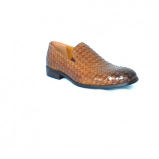 HUSTLE  WOVEN TAN LEATHER SLIP ON  BY SHEKINAH