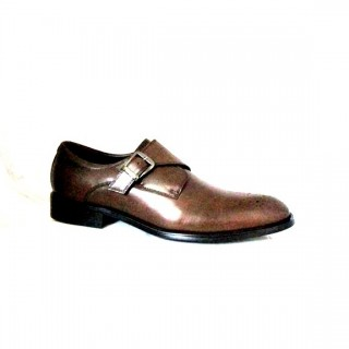 BRUSHED , LEATHER SINGLE MONK SHOE