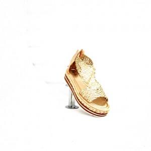 GLATO ,GOLD WOVEN  GLADIATOR   SUMMER SANDAL